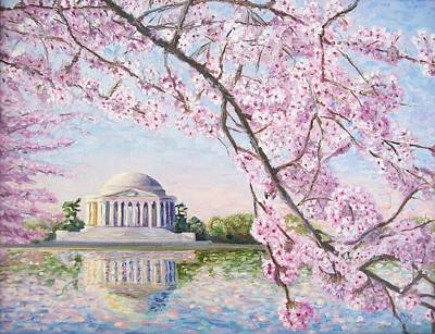 Jefferson Memorial Wall Art - Painting - Jefferson Memorial Cherry Blossoms by Patty Kay Hall