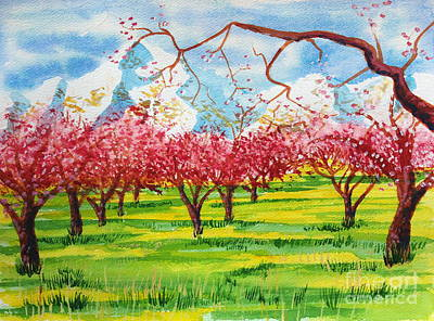 Painting - Cherry Blossoms Under Ben Lomond by Walt Brodis