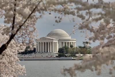 Cherry Blossoms With Jefferson Memorial - Washington Dc - 011324 Art Print by DC Photographer