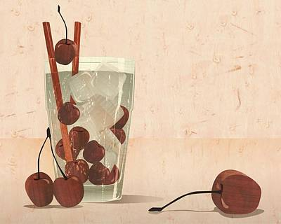 Cherry Cocktail Marqquetry Art Print by Zsolt Sesztak