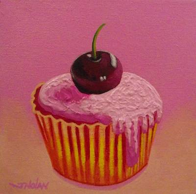 Culinary Painting - Cherry Cupcake by John  Nolan
