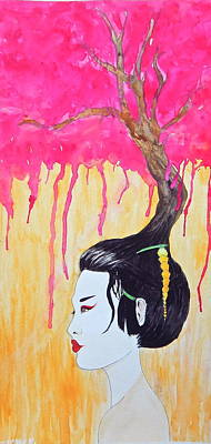 Geisha Painting - Cherry Drip by Ana Christian