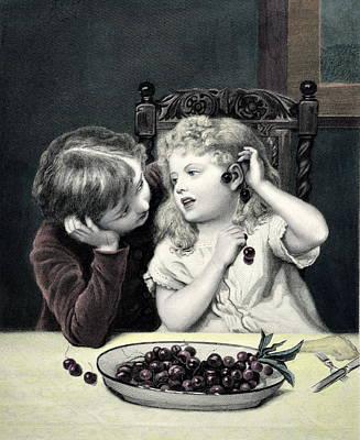 Travel - Cherry Earrings Vintage Print by Bishopston Fine Art
