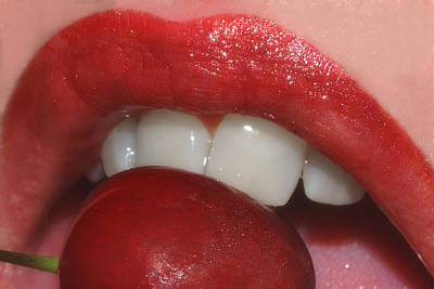 Lips Photograph - Cherry Lips by Joann Vitali