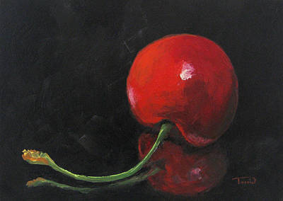 Cherry On Black Art Print by Torrie Smiley