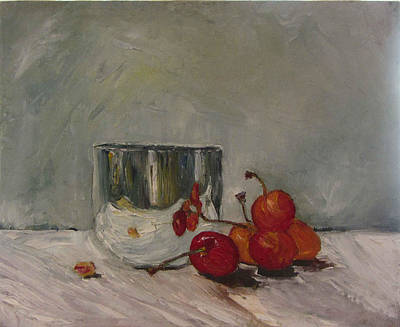 Still Life Painting - Cherry Pit by Zina Ghulmiyyah raad