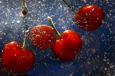 Art Print featuring the photograph Cherry Splash by Paula Brown
