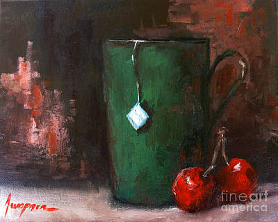 Painting - Cherry Tea In Green Mug Painting by Patricia Awapara