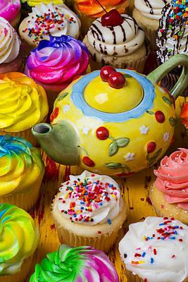 Cherry Teapot And Cupcakes Art Print