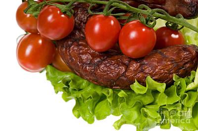 Kielbasa Photograph - Sausage With Lettuce And Cherry Tomato  by Arletta Cwalina