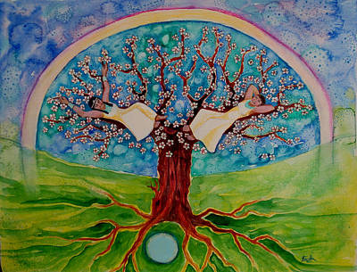 Mystical Landscape Painting - Cherry Tree Dreaming by Faith Nolton