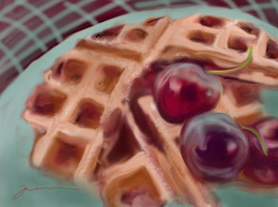 Painting - Cherry Waffles by Jean Pacheco Ravinski