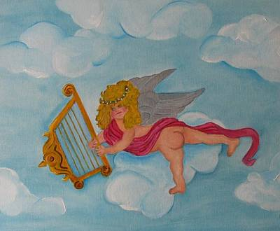 Art Print featuring the photograph Cherub In The Clouds by Margaret Newcomb