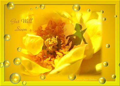 Photograph - Cherub On Yellow Rose Get Well Soon by Joyce Dickens