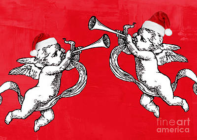 Digital Art - Cherubims And Santa Hats by Mindy Bench