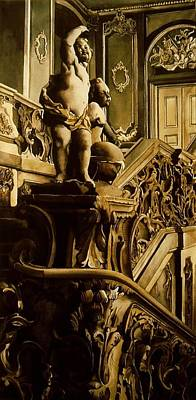 Cherubs On The Stairs Art Print by Alfred Ng