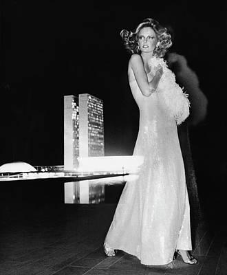 Cheryl Tiegs Wearing A Halston Evening Gown Art Print