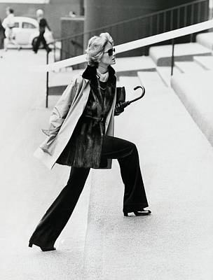 Cheryl Tiegs Wearing A Silk Raincoat Art Print