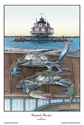 Blue Crab Drawing - Chesapeake Bounty 1 by Jonathan W Brown