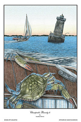 Lighthouse Drawing - Chesapeake Bounty 2 by Jonathan W Brown