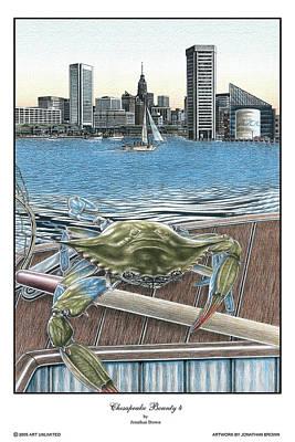 Blue Crab Drawing - Chesapeake Bounty 4 by Jonathan W Brown