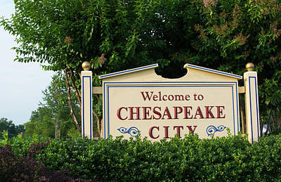Maryland Photograph - Chesapeake City, Maryland, Sign by Bill Bachmann