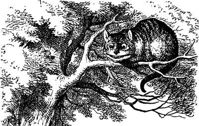 Drawing - Cheshire Cat Smiling by John Tenniel