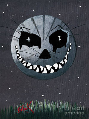 Big Teeth Painting - Alice In Wonderland Artwork - Cheshire Moon by Shawna Erback