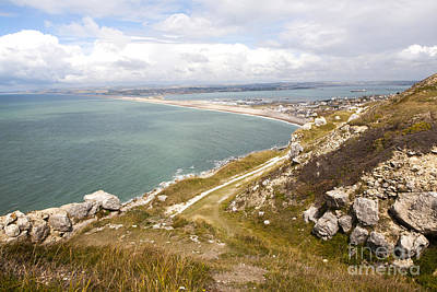 Chesil Beach With Weymouth Harbour Beyond Isle Of Portland Dorset England Print by Ian Murray