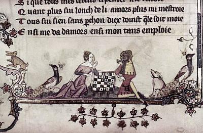 Chess Men Painting - Chess, 14th Century by Granger