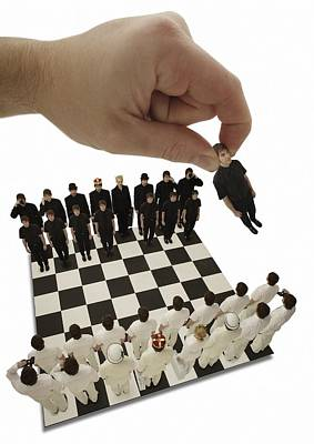 Conceptual Image Photograph - Chess Being Played With Little People by Darren Greenwood
