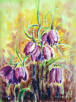 Meleagris Painting - Chess Flowers by Zaira Dzhaubaeva