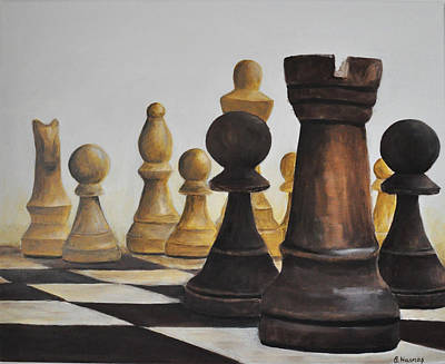 Chess Pieces Painting - Chess Game by Elena Hasnas