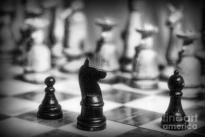 Chess Game In Black And White Art Print by Paul Ward