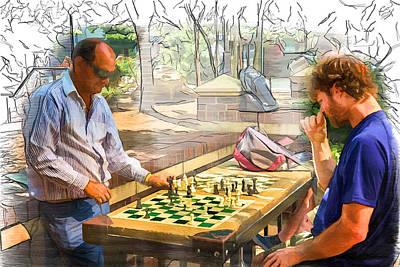 Mixed Media - Chess Match by John Haldane