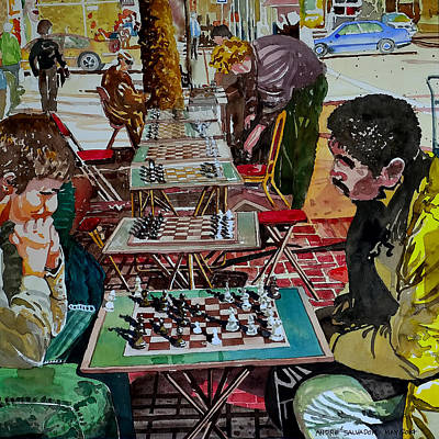 Chess Pieces Painting - Chess Match On Market Street by Andre Salvador