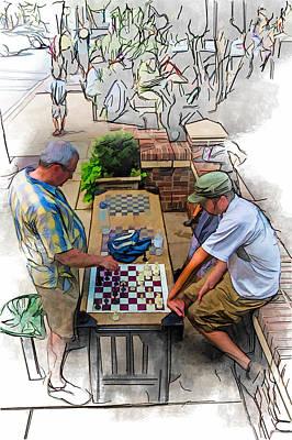 Mixed Media - Chess Match Too by John Haldane