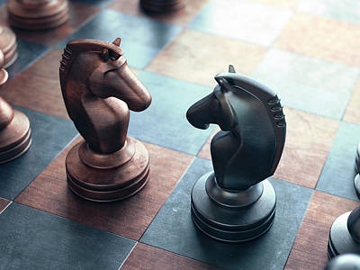 Chess Pieces On A Chess Board Art Print