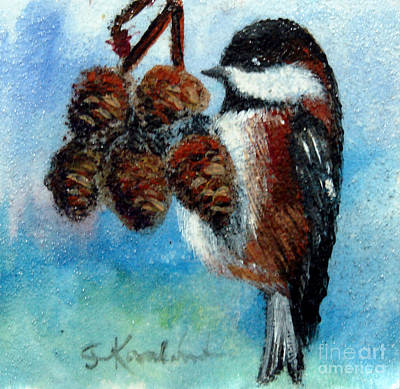 Vintage Playing Cards - Chestnut Backed Chickadee - Alder by Carol Kovalchuk