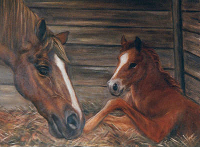 Painting - Chestnut Mare And New Baby by Terry Sita