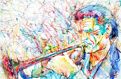 Painting - Chet Baker Playing by Fabrizio Cassetta