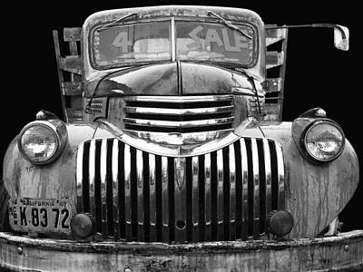 Photograph - Chev For Sale - 1942 Black And White by Larry Hunter
