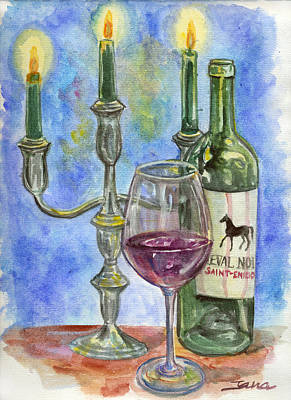 Wine-bottle Painting - Cheval Noir by Jana Goode