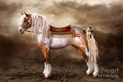Native American War Horse Digital Art - Cheveyo Native American Spirit Horse by Shanina Conway