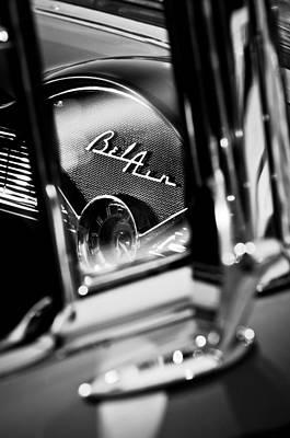Chevrolet Belair Dash Board Emblem -754bw Print by Jill Reger