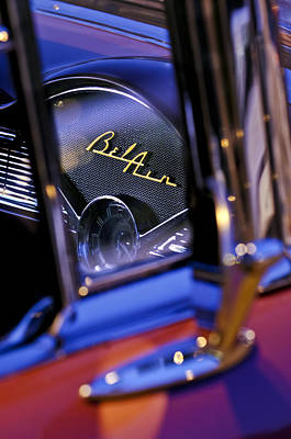 Car Photograph - Chevrolet Belair Dash Board Emblem -754c by Jill Reger