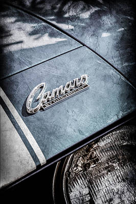 American Cars Photograph - Chevrolet Camaro Emblem -0110ac by Jill Reger