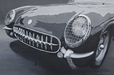 Painting - Chevrolet Corvette 1954 by Anna Ruzsan