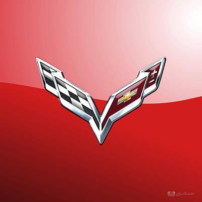 Chevrolet Corvette - 3d Badge On Red Art Print by Serge Averbukh