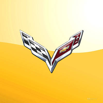 Digital Art - Chevrolet Corvette - 3d Badge On Yellow by Serge Averbukh